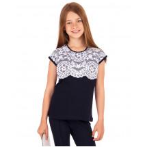 """Блузка для девочек синего цвета с эффектом кружева """"Опера"""""""