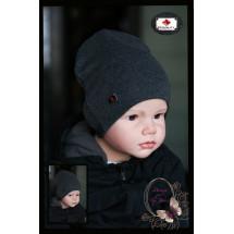 """Удлиненная шапка графитового цвета для мальчика """"Quality"""""""