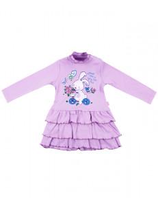 """Платье для малышек сиреневого цвета """"зайка на велосипеде"""""""