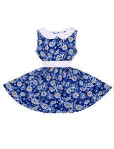 Платье без рукавов васильковое с белым пояском космея