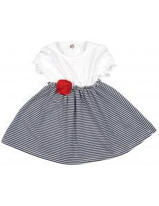 Платье летнее белое в мелкую полоску с розочкой