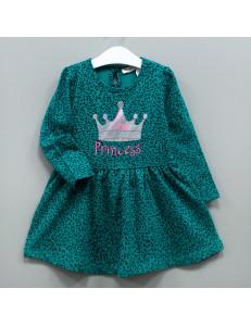 """Платье с длинным рукавом зеленого цвета """"Принцесса"""""""