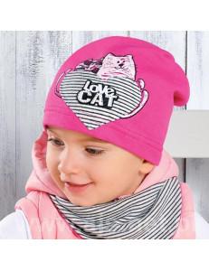 "Шапка весенняя на девочку ""love cat"" (размер 48-50)"