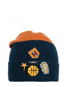 """Шапка демисезонная оранжевая с синим для мальчиков """"NBA"""""""