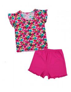 Пижама летняя малинового цвета с маленькими цветочками