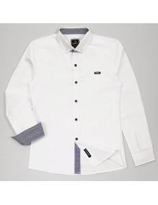 """Рубашка для мальчиков белого цвета с контрастными деталями """"Бой"""""""